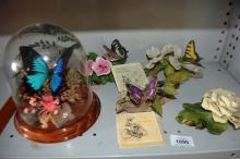 3 x Franklin Mint butterfly ornaments with