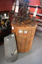 3 items incl. a coal scuttle, wrought iron chandelier & cane laundry basket