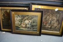 Collection of 3 x antique, hand coloured engravings by George Morland, all 1790s, framed, largest is 45.5 x 59cm