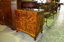 Small carved Oriental side cabinet, single drawer over 2 panelled doors, 58cm W, plate glass to top