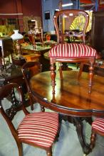 Good set of 4 x Victorian style balloon back dining chairs, carved mahogany frame with striped upholstery