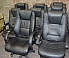 1 x black executive style office chair and 2 blue