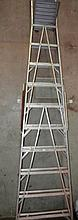 An unbranded aluminium step ladder with a work