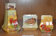 3 various Royal Doulton squat vases, incl. 2 x decorated with poppies and 1 x thatched cottages, tallest 11cm