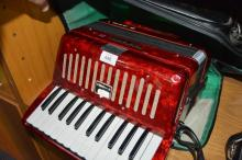 Vintage Yamaha piano accordion, model no. S-25B, red marble effect case, comes with soft case