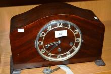 Art deco German mantel clock, 3 train movement, walnut cased, comes with key & pendulum, 22cm T