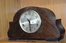 Art deco mantel clock, 3 train movement, comes with pendulum, no key, 23cm T