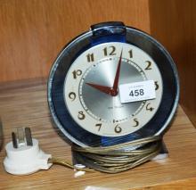 Art deco electric shelf clock by Westclox USA, bue perspex detail, 15.5cm T, untested