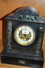 Antique slate & verte marble cased shelf clock, German movement, small chips to slate, gong striking, no key or pendulum, 34cm T