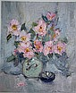Allan Hansen, oil on board, 'Pink Sasanqua',