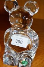Orrefors crystal figurine of a seated teddy bear,