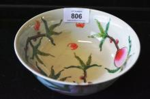 Chinese porcelain bowl decorated with peaches,