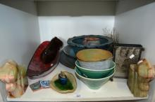 Shelf: to incl. various Studio pottery vases &
