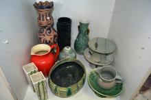 Shelf: qty of studio pottery incl. vases, bowls,
