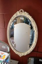 White painted oval bevel edge wall mirror