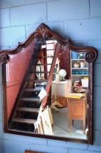 Ornate arched timber framed wall mirror AF