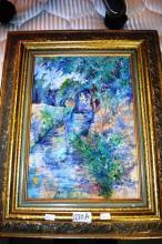 Claire oil on canvas, impressionist scene,