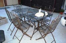 7 piece French style metal outdoor table setting
