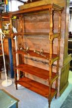Rustic timber open shelf whatnot, rectangular form