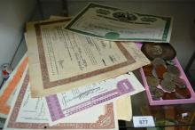 Qty of vintage stock & share certificates, mostly