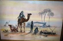Sung H Lee, Bedouin camp desert setting, oil on