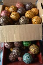 Large collection of decorative woven cane balls,
