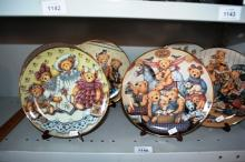 Set of 6 Franklin mint display plates, Teddy Bear