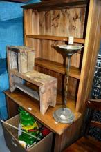 Rustic timber study desk with hutch, AF