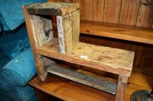 Rustic stepped timber shelf unit
