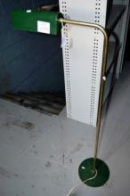Vintage brass floor lamp with green metallic shade