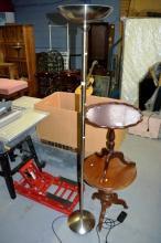 Brushed steel modern upright floor lamp, in
