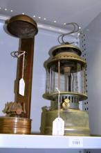 2 vintage kero lamps, one wall hanging,