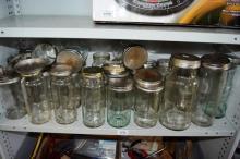 Shelf: Fowlers jars with lids etc