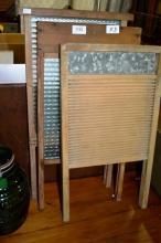 3 vintage glass & timber wash boards