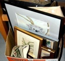 Box of vintage pictures and prints, plus a