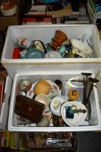 2 boxes: ceramics, retro items, wrought iron