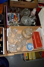 2 boxes: crystal and glassware, Wedgwood, boxed