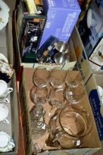 2 boxes: glassware, 6 wine glasses, water jug etc