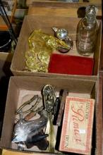 2 boxes: vintage items incl. art deco decanter and
