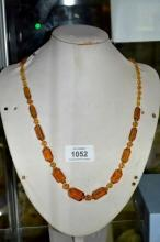 Amber coloured crystal beaded necklace vintage