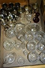 Large box: crystal, glass ware, silver plate