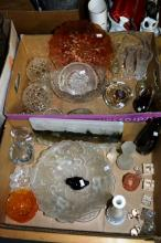 2 boxes of glassware incl. carnival glass bowl,