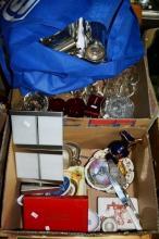 2 boxes: glassware incl. wine glasses, picture