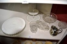 Shelf lot: 2 various milk glass cake stands - one