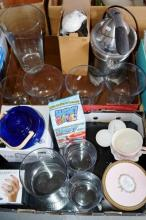 2 boxes: homwares incl. glass vases, stone candle