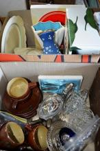 2 boxes: retro pottery cups and saucers,