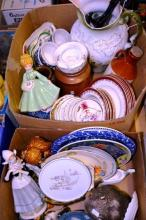 2 boxes: trinket dishes, pottery crocks, figurines