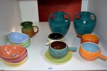 Shelf lot: Australian pottery incl. set of 6