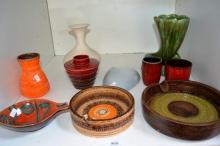 Shelf lot: retro pottery incl. Italian, German etc