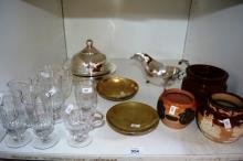 Shelf lot to incl. antique glassware, silver plate